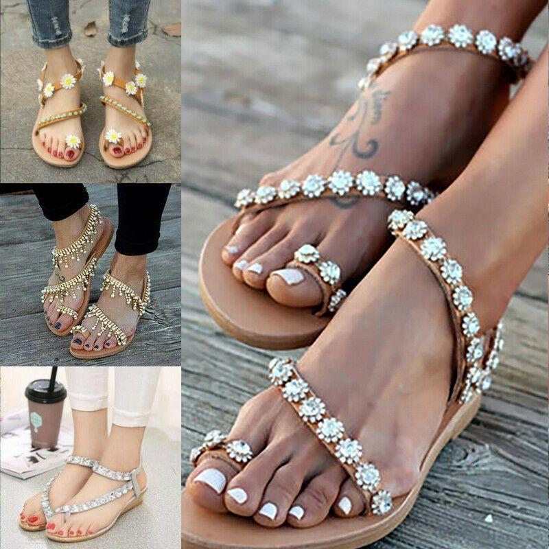Damen Sandalen Strass Lack Nieten Sommer Zehentrenner Flats