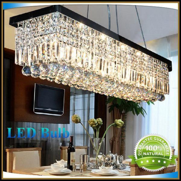 New Modern Rectangular Crystal Chandelier Dining Room Length 100cm LED  Cyrstal Pendant Light Ceiling Lamp Chandiliers