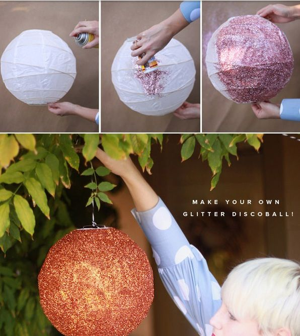 Turn A Chinese Lantern Into A Glitter Disco Ball!