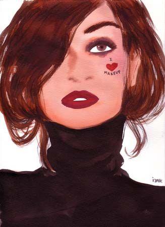 #izakzenou #fashionillustration #illustration #watercolor #indiaink #trafficnyc #artistprints #fashionista contact info@traffic-nyc.com #ilovemakeup #brunette