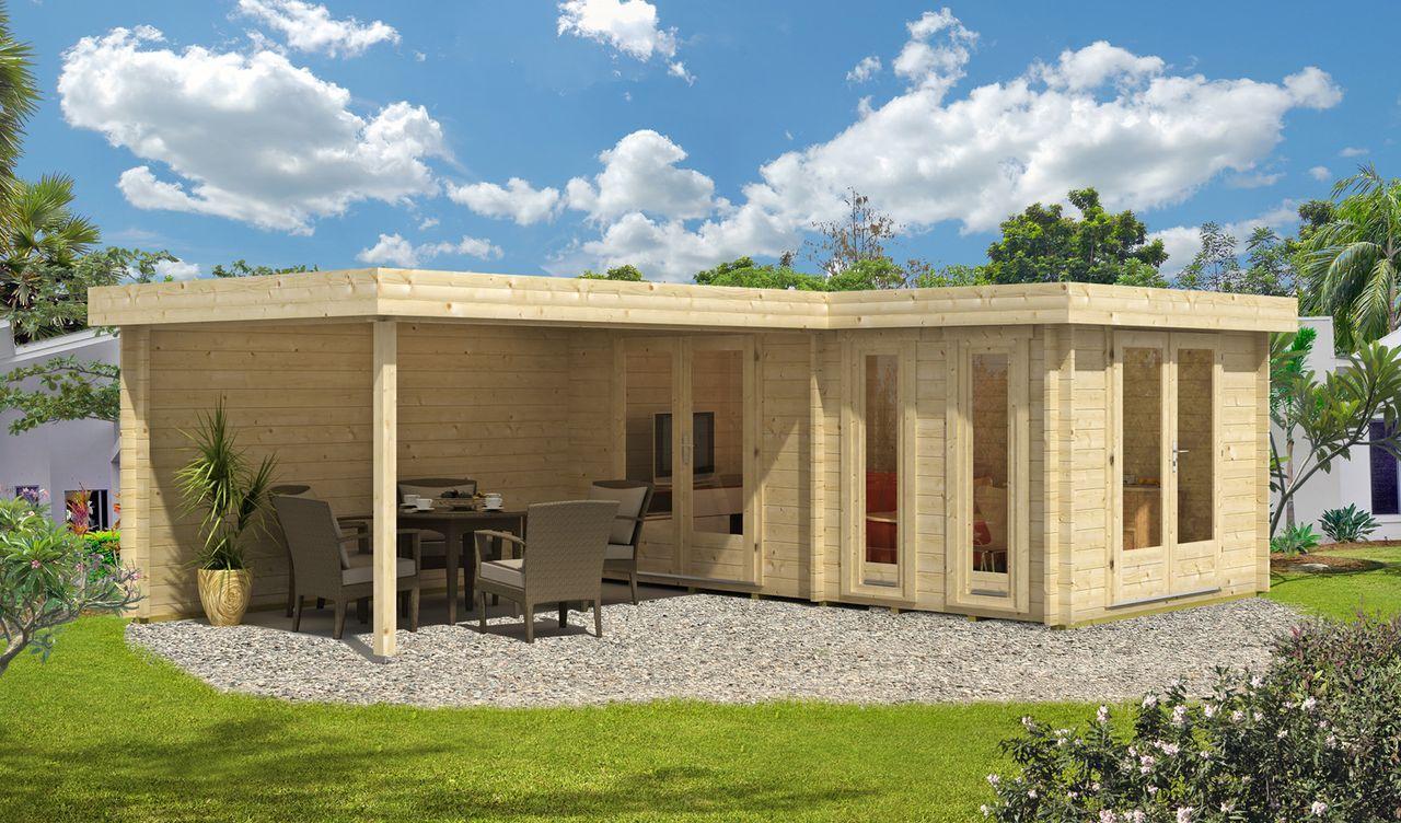 Flachdach Gartenhaus Modell Quinta44 ISO Flachdach