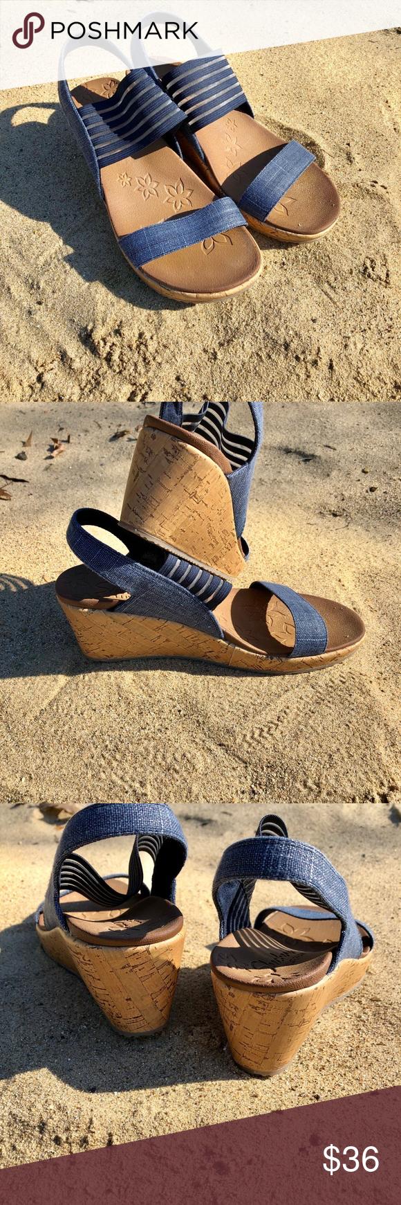 Skechers Beverley Smitten Kitten Wedge Sandal Soft Linen And Stretch Fabric Upper Strappy Comfort Sandal Wedge 2 1 4 Wedge Sandals Sandals Comfortable Sandals