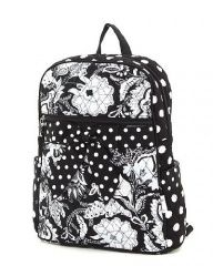 bf51ad61f1 Black and White Polka Dot Backpack – Quilted Paisley Floral Polka Dots  Small Backpack