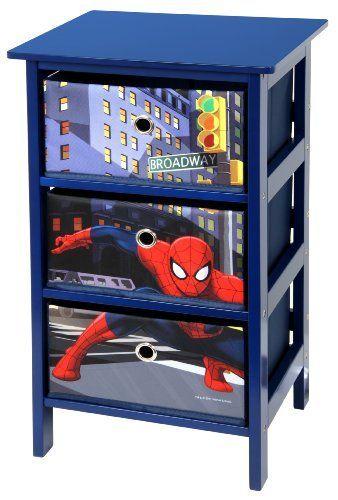 Spiderman 3 Drawer Blue Bedroom Storage Unit by Marvel *EXCLUSIVE ...