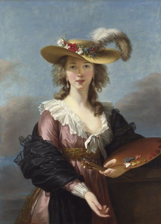 Elisabeth Louise Vigee-Lebrun — Self Portrait in a Straw Hat, 1782. You know, your typical painterly get-up.