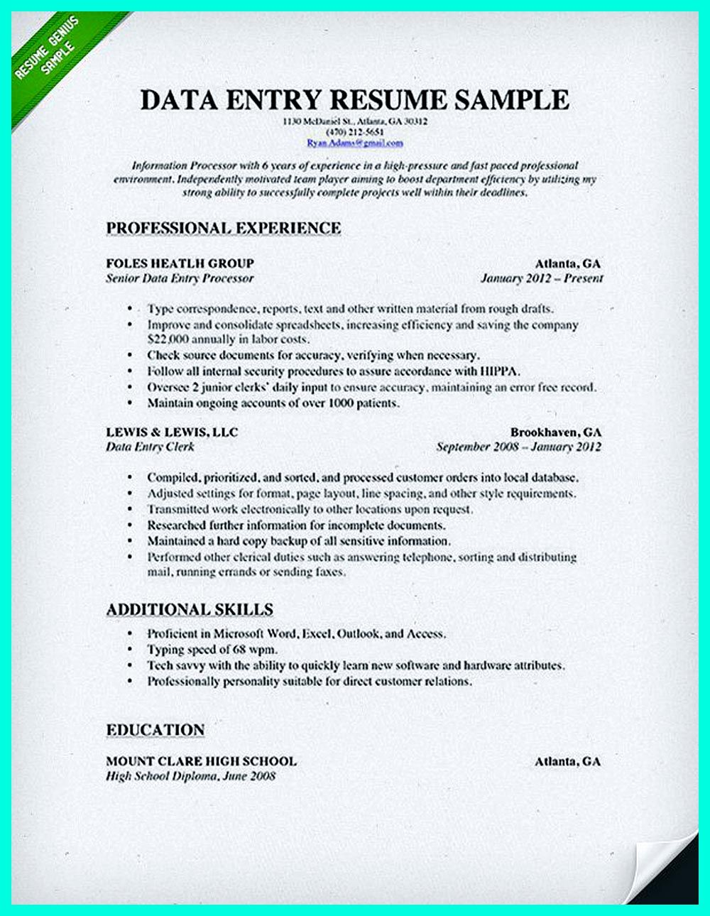 your data entry resume is the essential marketing key to