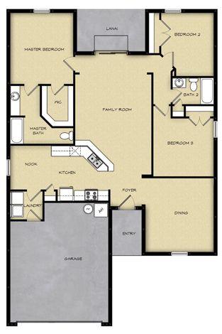 3 Br 2 Ba Floor Plan House Design In Jacksonville Fl