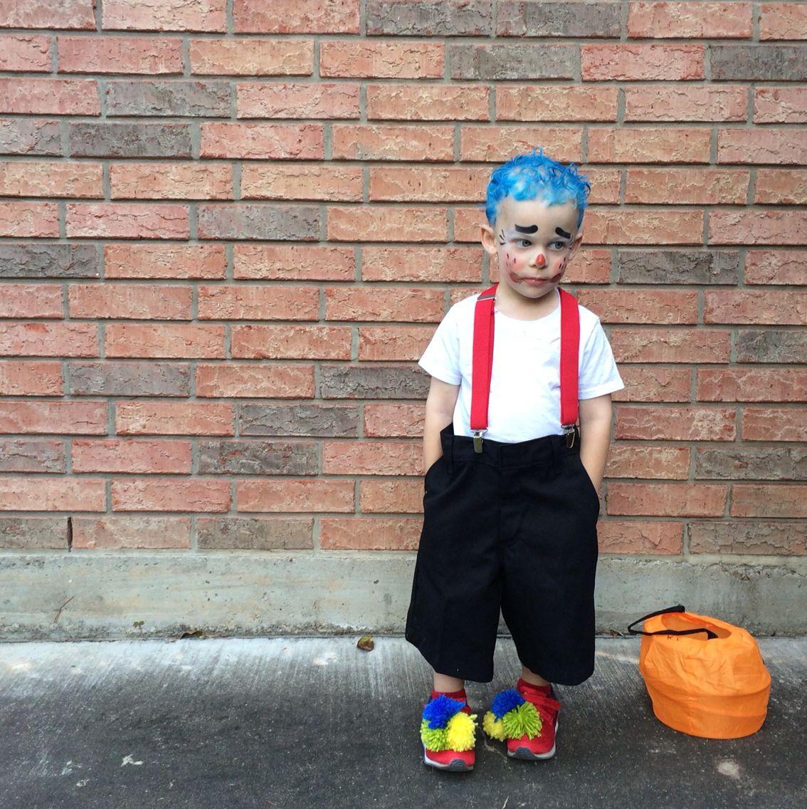 Diy Kids Boy Clown Halloween Costume Yarn Pom Poms Suspenders Big