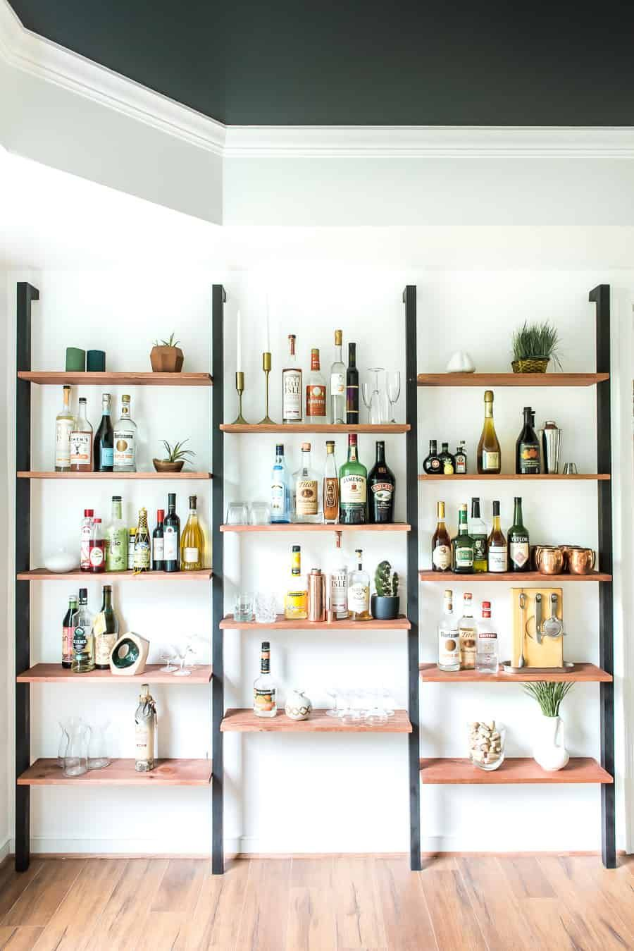Wall To Wall Shelves one room challenge week 4 | wall bar, wall shelves, living