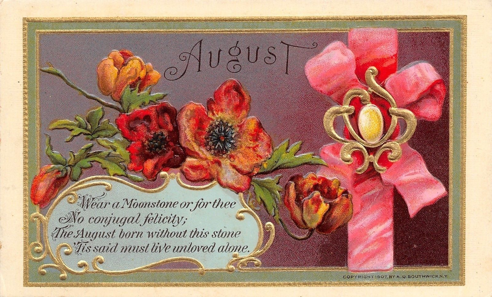 Augustmoonstone Poppiespoemribbongold Art Nouveau Emboss