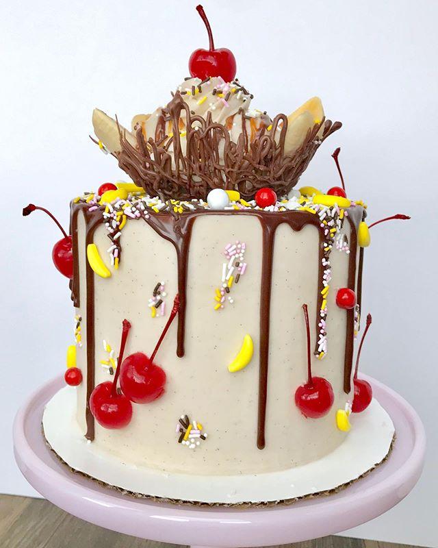 Banana Split Ice Cream Dessert With Chocolate Syrup Stock