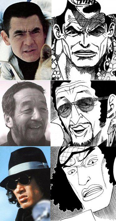 Pre-timeskip Marine Admirals from ONE PIECE are based upon Japanese actors and drawn to resemble them. Akainu-Bunta Sugawara   Kizaru-Kunie Tanaka   Aokiji-Yusaku Matsuda