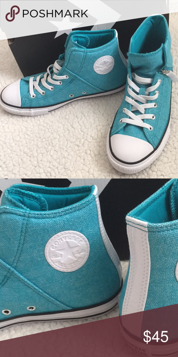 bec249443a00f Converse high top teal and white sneakers New in box! The shoelaces ...
