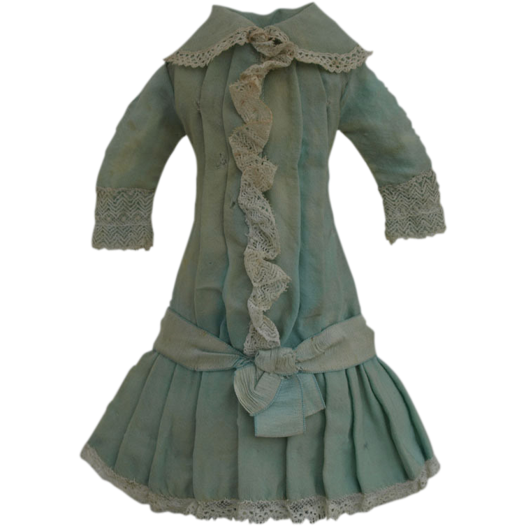 Rare Antique Original Aqua Cashmere Wool Bebe BRU Dress French circa from mybebes on Ruby Lane