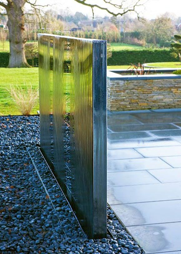 terrific water garden design with made to measure | A water wall with a terrific modernist look ...