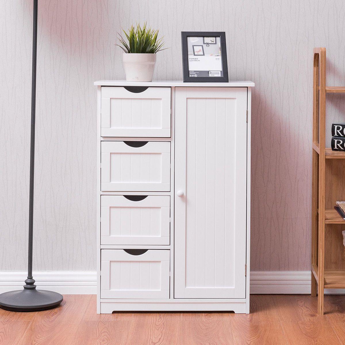 Goplus Wooden 4 Drawer Bathroom Cabinet Storage Cupboard 2 Shelves