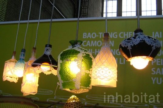 A Touch of Lace Gives these Repurposed Glass Lamps a Romantic