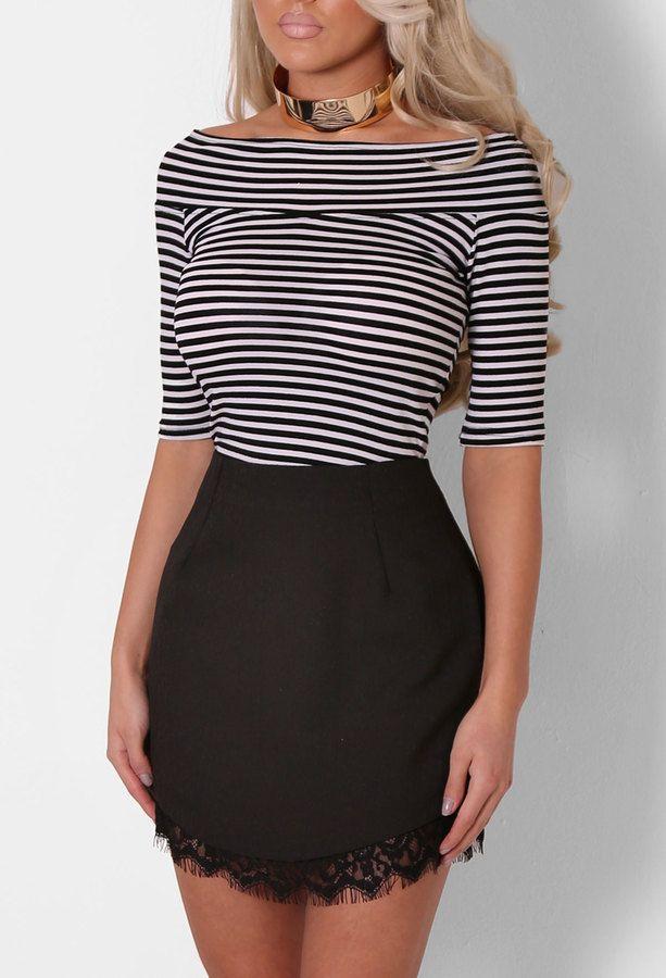 Libby Monochrome Stripe Bardot Top