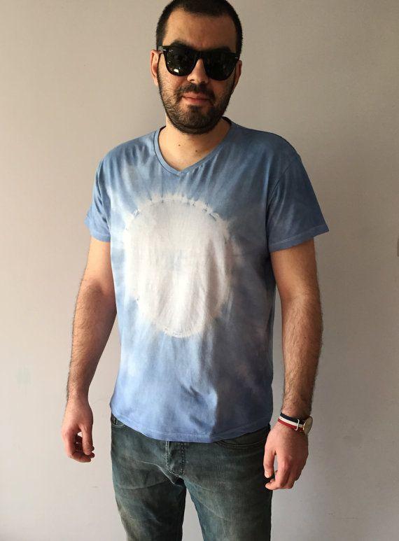 5ffc0c13df1 Mens Shibori Blue Dip Dye T-shirt Size Large Hand Dyed Summer Upcycled  Vegan Fashion Top Tie Dye OOAK Navy Blue Cotton Unique White Circle