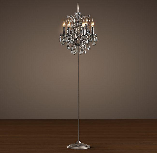 19th C Rococo Iron Smoke Crystal Floor Lamp Crystal Floor