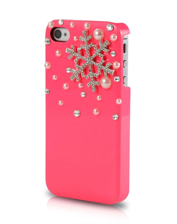 Iphone case! I love this! Pink + pearls + snowflake❄️