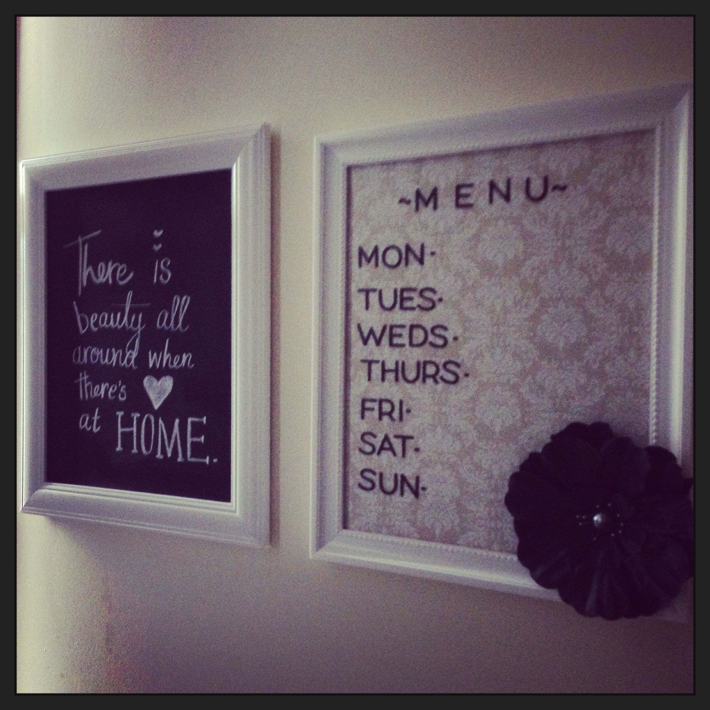 Blackboard paint with a nice white frame, whiteboard menu with ...