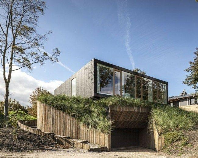 Holz Zaun Glas Fassade Moderne Minimalistische Architektur