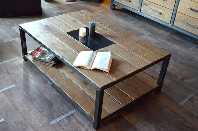 Table basse industrielle bois vieilli fabrication la - Tables basses industrielles ...