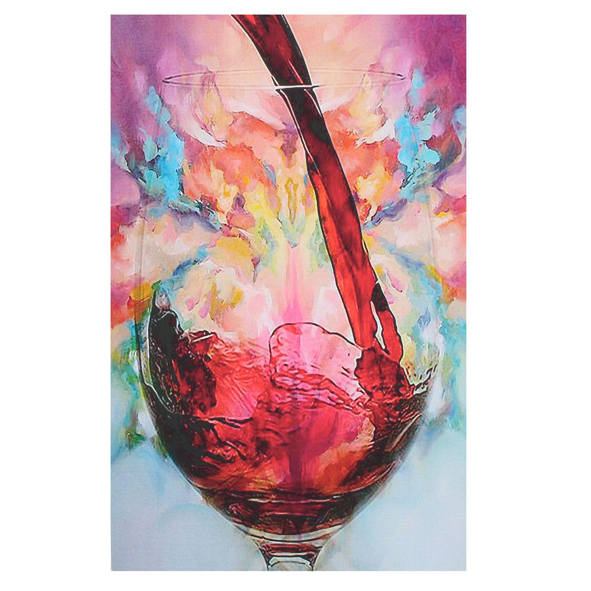 Abstract Giclee Red Wine Glass Oil Painting Canvas Print