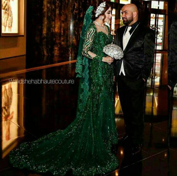 Afghan Wedding Gowns: Afghan Bride With Green Nikkah Dress In 2019