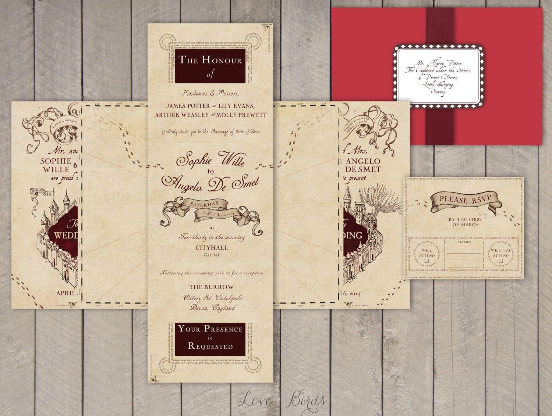 Wedding invitation Set Harry Potter Marauder\'s Map - Invitation and ...