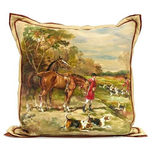 Hunt Scene Pillow, Rider Standing