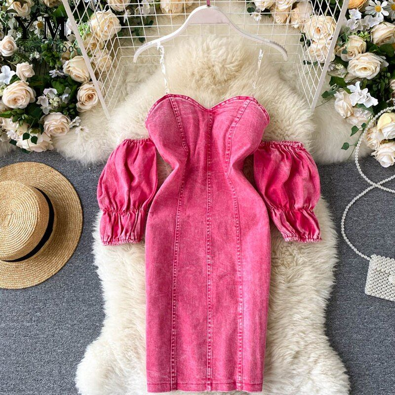 23.39US $ 16% OFF YuooMuoo Ins Fashion Off Shoulder Sexy Denim Dress Women 2020 Slim High Waist Mini Pink Dress Sundress Ladies Party Dress Dresses    - AliExpress