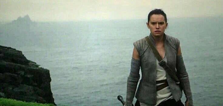 Rey meets Luke Skywalker. Ending scene from Star Wars Episode VII The Force Awakens