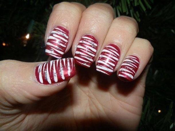 Christmas Nail Art Candy Cane Christmas Glitter Nail Art Nail
