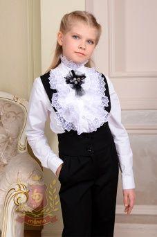 bdfe107b2c3 Белая нарядная блузка с двойным