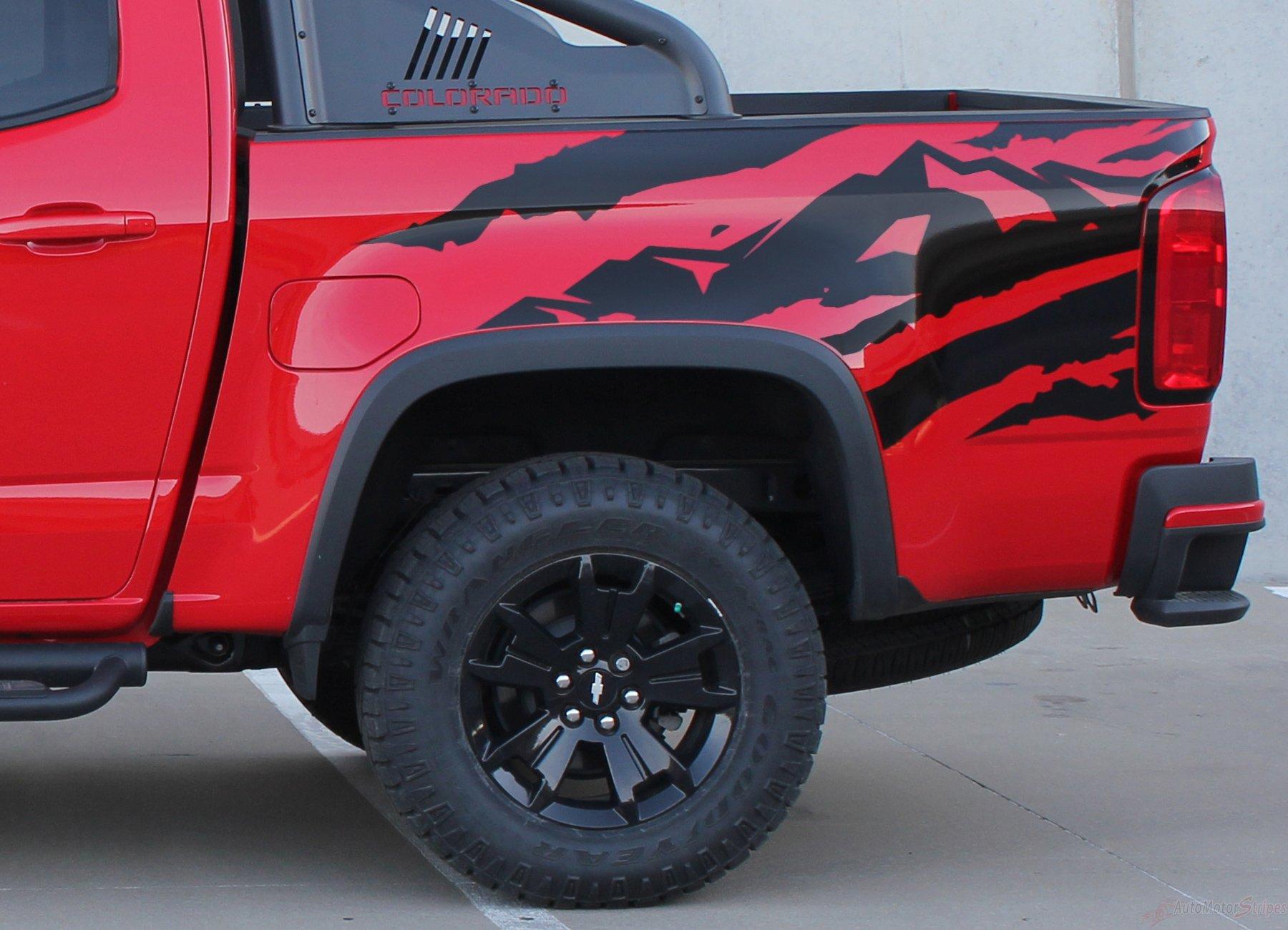 2015 2016 2017 2018 chevy colorado antero rear side truck bed mountain scene accent vinyl graphics 3m stripes kit [ 1800 x 1300 Pixel ]