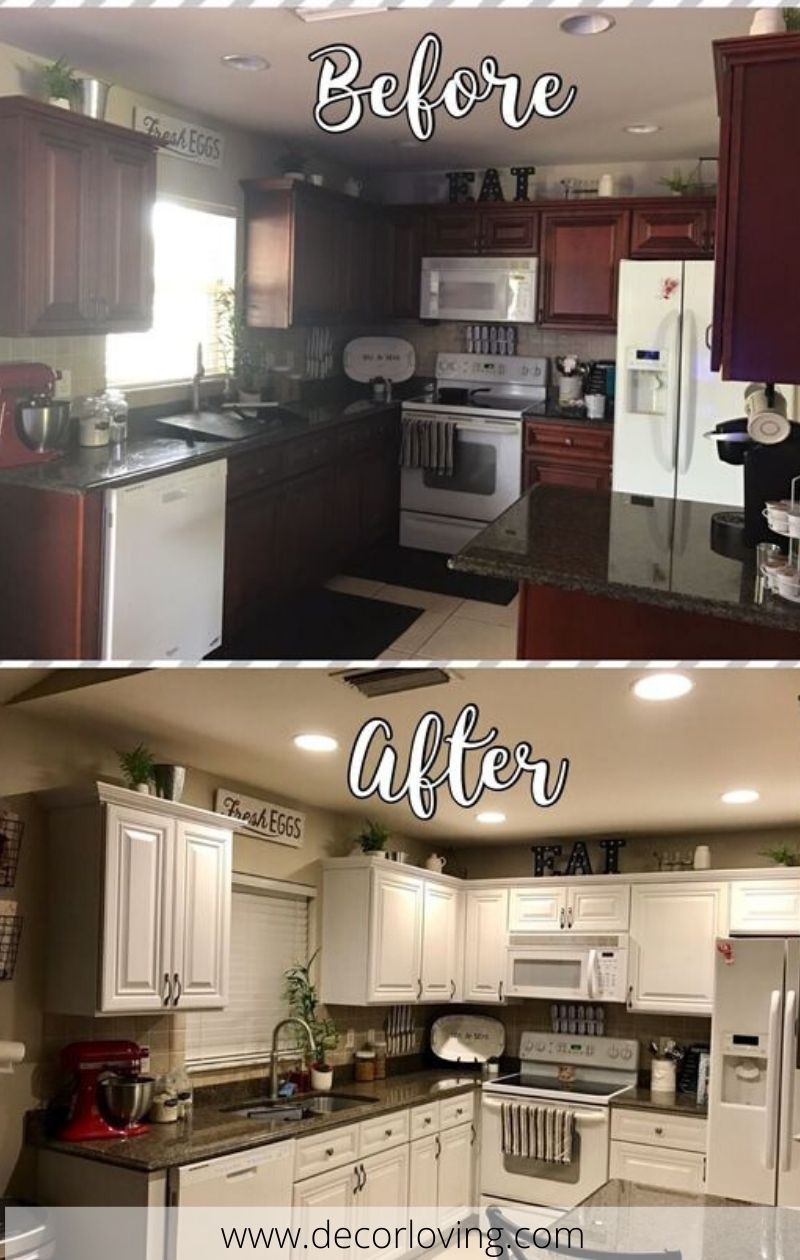 Top15 Diy Kitchen Cabinets Before And After With White Painted Cab Diy Kitchen Cabinets Painting Chalk Paint Kitchen Cabinets Kitchen Cabinets Before And After