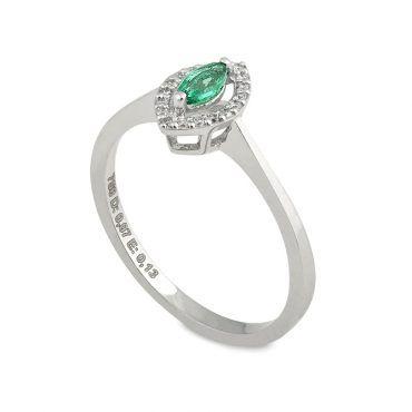 Ροζέτα δαχτυλίδι Κ18 από λευκόχρυσο με σμαράγδι σε κοπή μαρκίζα και  διαμάντια μπριγιάν περιμετρικά  b6e664be4b3