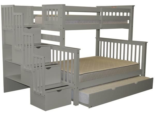 Bunk Beds Twin Over Full Stairway Gray Trundle In 2018 Teen Room