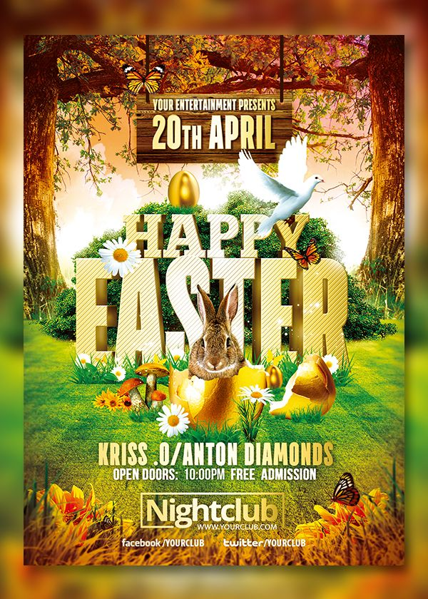 Happy Easter Event  Flyer Template On Behance Clean Psd File