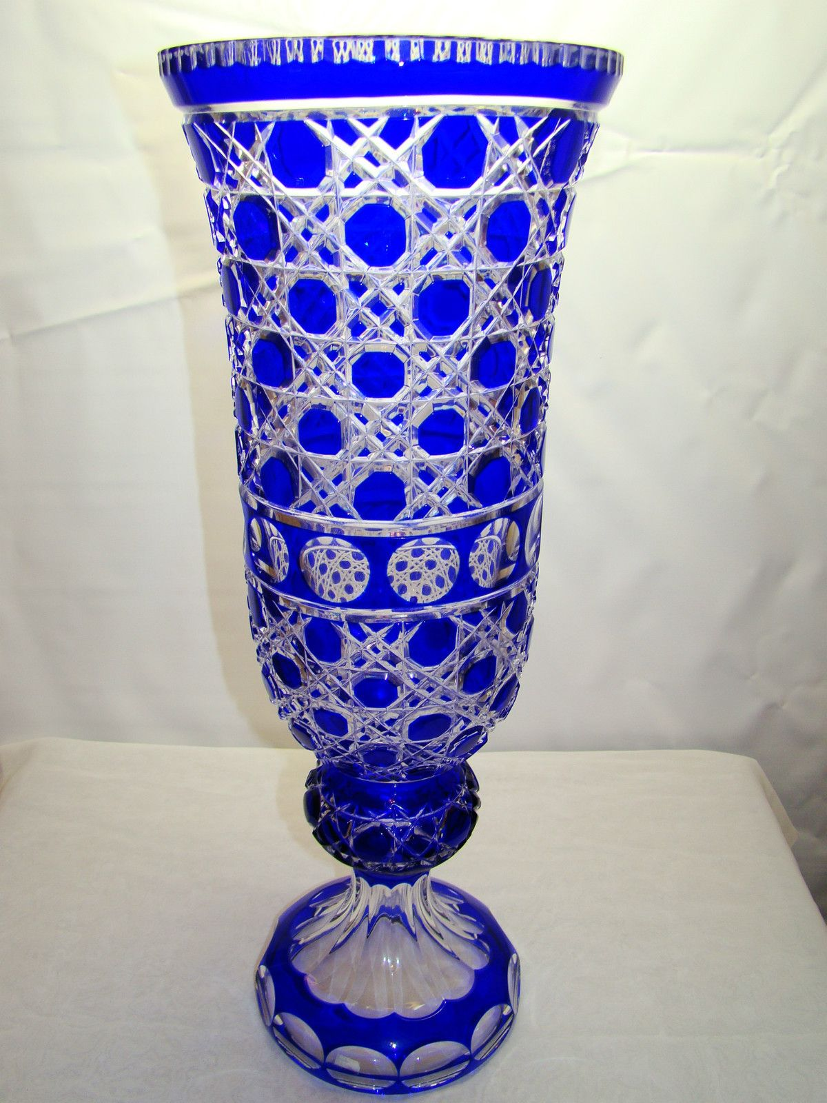 blue cut vintage glass vase