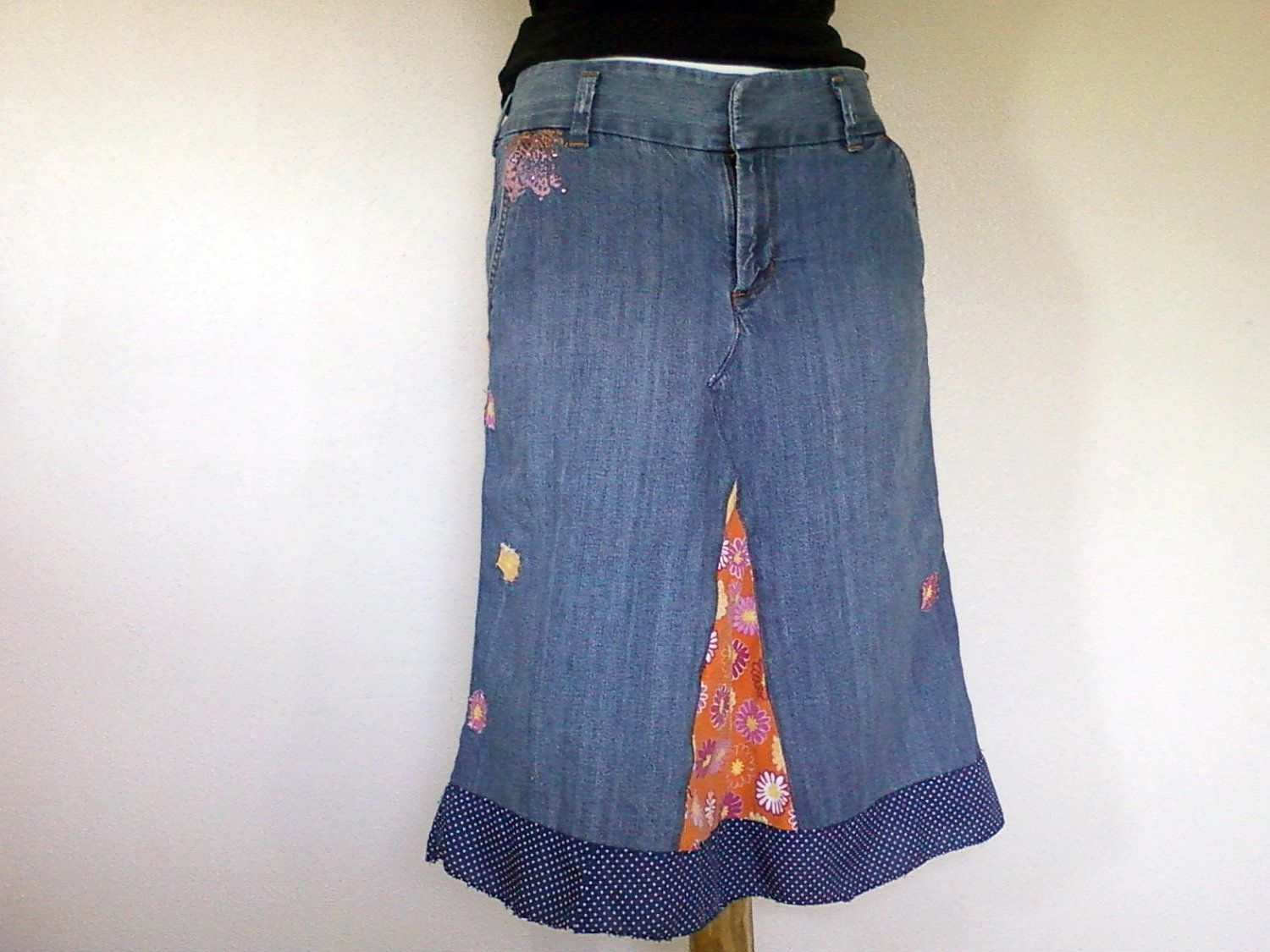 Denim Skirt Women's size 4 With Flowers: Upcycled Juniors Jean ...