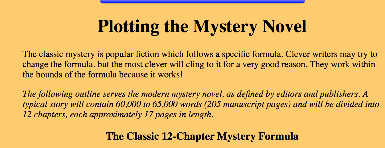 Plotting The Mystery Novel The Classic 12 Chapter Mystery Formula Mystery Novels Novels Mystery