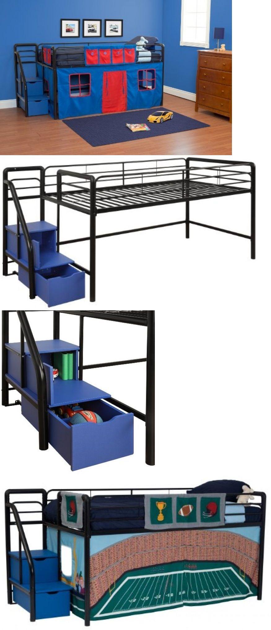 Homemade loft bed with desk  Kids at Home Junior Kids Loft Bed Black Blue Bedroom Furniture