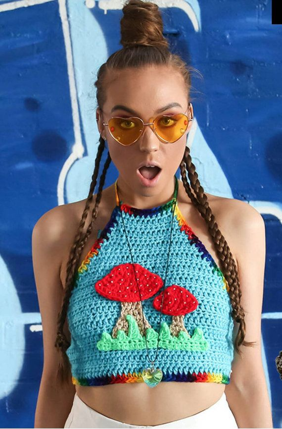 fc8a900007 Customize your shroom crop top  with detachable hood option  crochet  psychedelic trippy groovy festival rave top