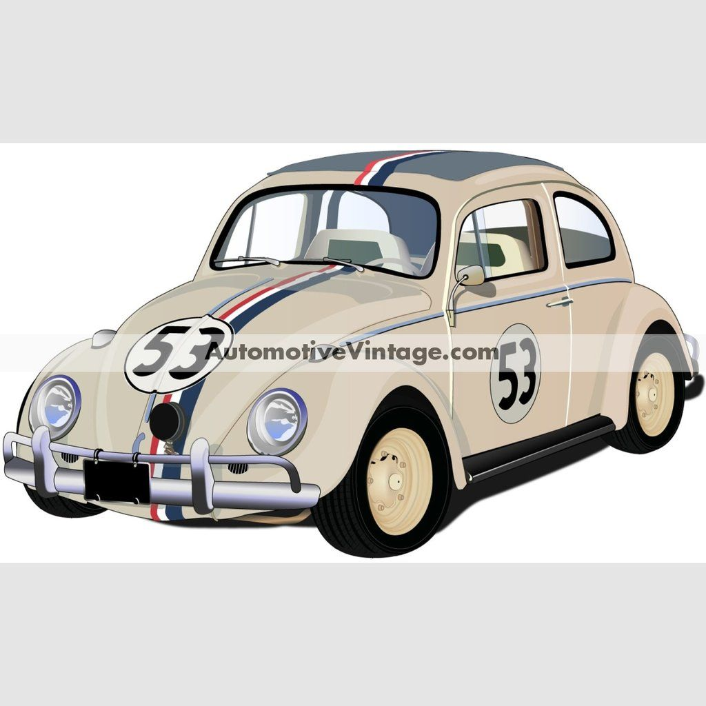 Herbie The Love Bug Volkswagen Indoor Car Wall Sticker Volkswagen Car Wall Sticker [ 1024 x 1024 Pixel ]