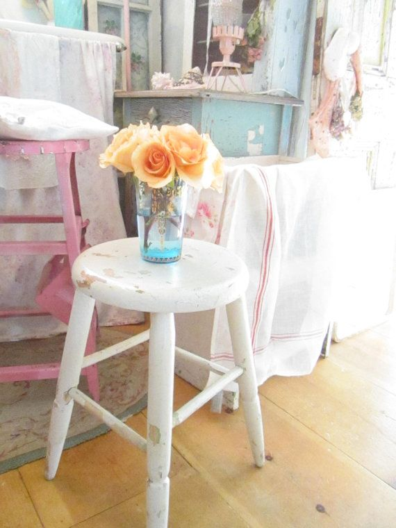 Shabby chic chippy painted white stool by Vintagewhitecottage