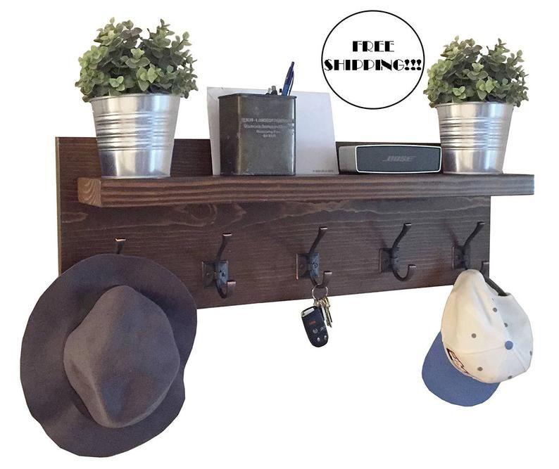 Coat rack with floating shelf modern farmhouse rustic