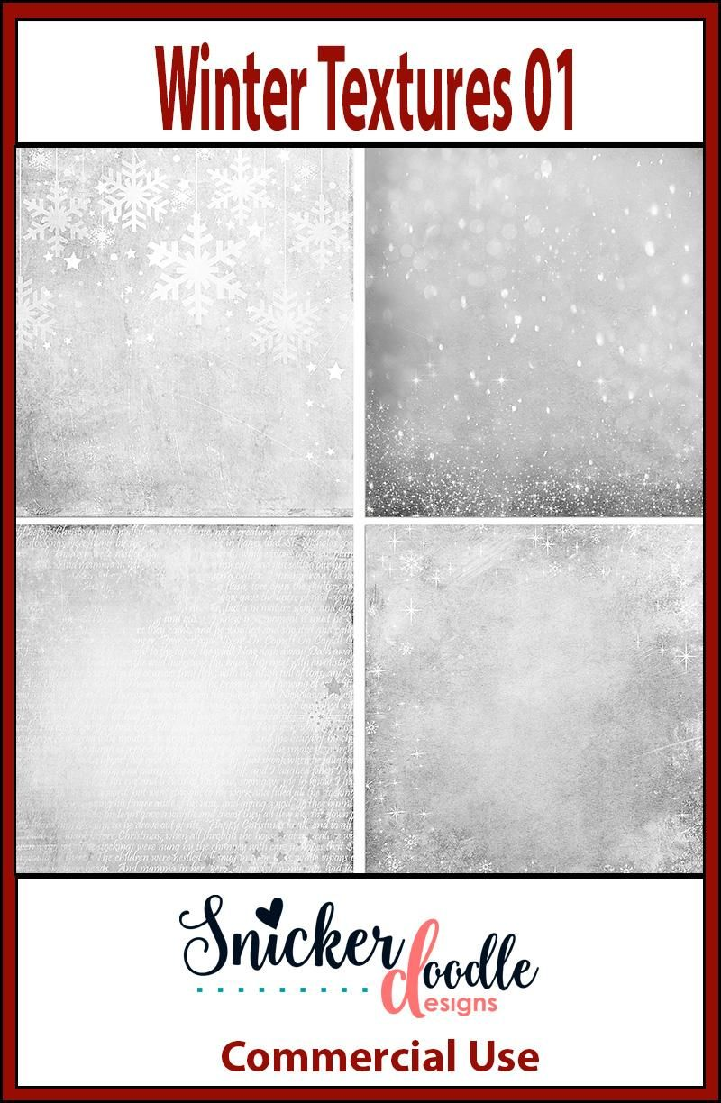 This is a set of 4 textures, winter-themed, with gently falling snowflakes, some icy textures, sparkles, and some holiday text.  #SnickerdoodleDesigns #digitalscrapbooking #WinterTextures01  https://snickerdoodledesignsbykaren.com/shop/index.php?main_page=product_info&cPath=61&products_id=1624